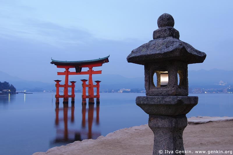japan stock photography | O-Torii (Grand Gate) and Stone Lantern at Dawn, Itsukushima Shrine, Miyajima, Honshu, Japan, Image ID JPMI0002