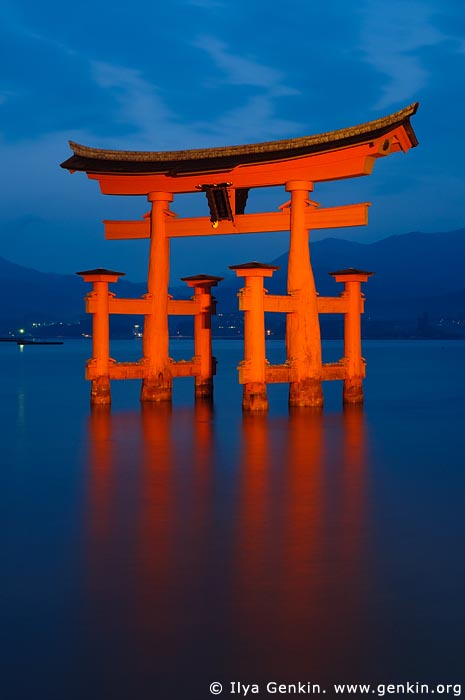 japan stock photography | O-Torii (Grand Gate) at Dusk, Itsukushima Shrine, Miyajima, Honshu, Japan, Image ID JPMI0004