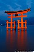 japan stock photography | O-Torii (Grand Gate) at Dusk, Itsukushima Shrine, Miyajima, Honshu, Japan, Image ID JPMI0004.