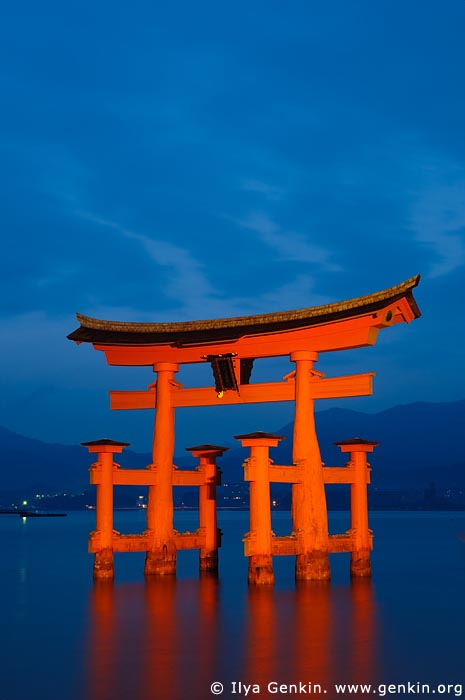 japan stock photography | O-Torii (Grand Gate) at Dusk, Itsukushima Shrine, Miyajima, Honshu, Japan, Image ID JPMI0005