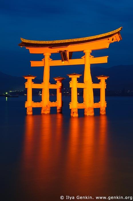 japan stock photography | O-Torii (Grand Gate) at Dusk, Itsukushima Shrine, Miyajima, Honshu, Japan, Image ID JPMI0006