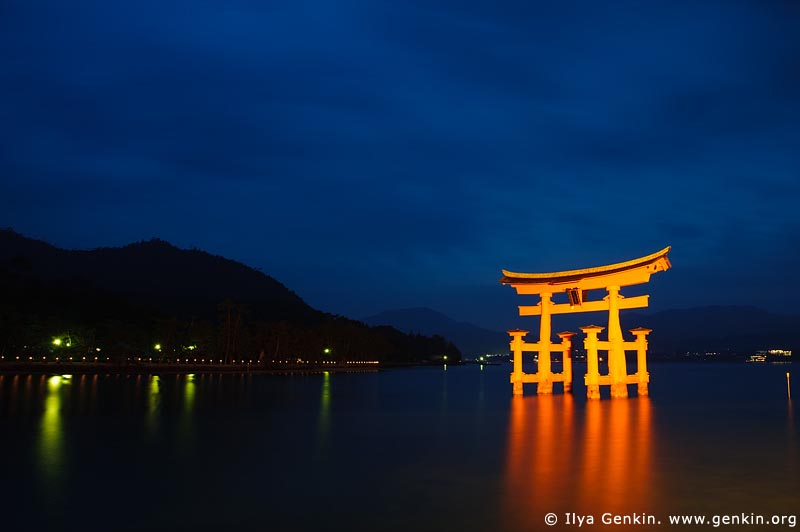 japan stock photography | O-Torii (Grand Gate) at Dusk, Itsukushima Shrine, Miyajima, Honshu, Japan, Image ID JPMI0007