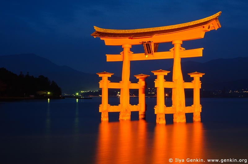japan stock photography | O-Torii (Grand Gate) at Dusk, Itsukushima Shrine, Miyajima, Honshu, Japan, Image ID JPMI0008