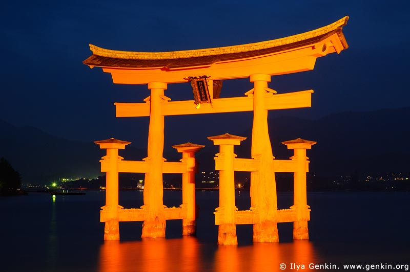 japan stock photography | O-Torii (Grand Gate) at Dusk, Itsukushima Shrine, Miyajima, Honshu, Japan, Image ID JPMI0009