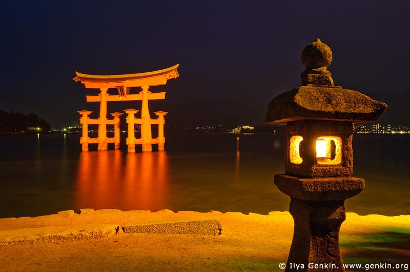 japan stock photography | O-Torii (Grand Gate) and Stone Lantern at Night, Itsukushima Shrine, Miyajima, Honshu, Japan, Image ID JPMI0010