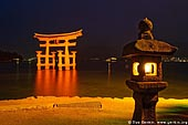 japan stock photography | O-Torii (Grand Gate) and Stone Lantern at Night, Itsukushima Shrine, Miyajima, Honshu, Japan, Image ID JPMI0010.