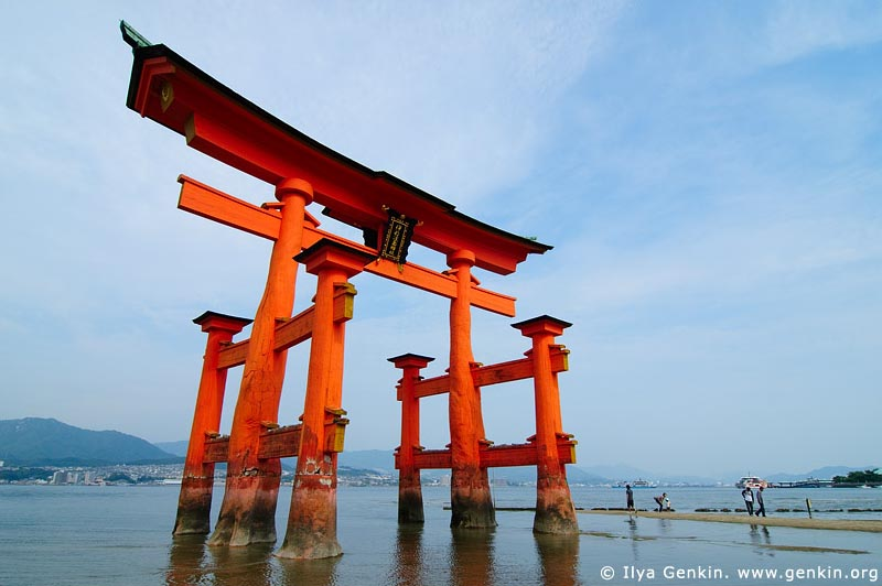 japan stock photography | O-Torii (Grand Gate) at Low Tide, Itsukushima Shrine, Miyajima, Honshu, Japan, Image ID JPMI0023