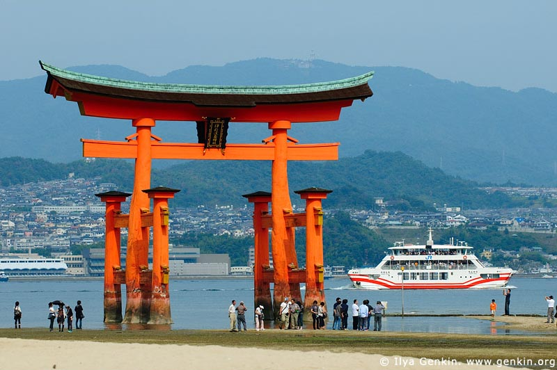 japan stock photography | O-Torii (Grand Gate) at Low Tide, Itsukushima Shrine, Miyajima, Honshu, Japan, Image ID JPMI0025