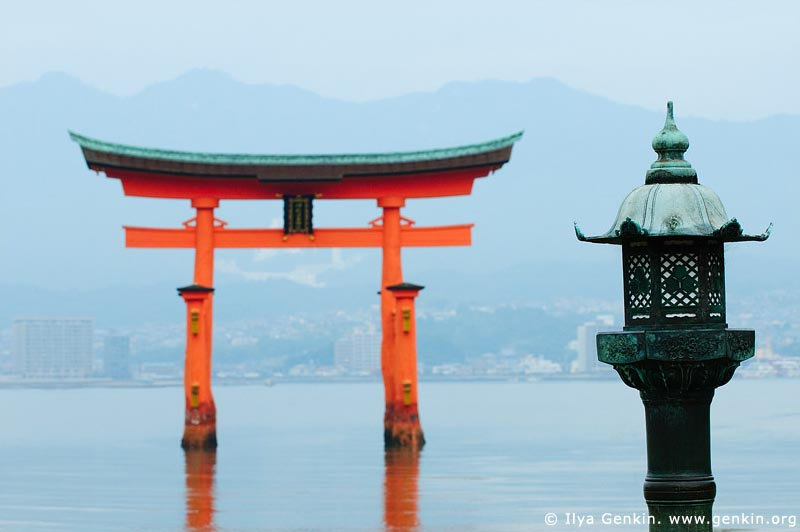 japan stock photography | O-Torii (Grand Gate) and Lantern, Itsukushima Shrine, Miyajima, Honshu, Japan, Image ID JPMI0026