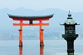 japan stock photography | O-Torii (Grand Gate) and Lantern, Itsukushima Shrine, Miyajima, Honshu, Japan, Image ID JPMI0026.
