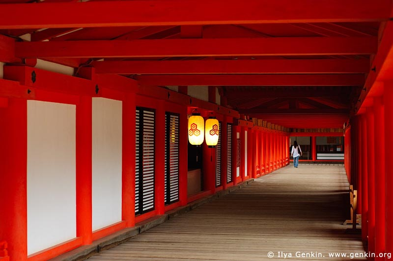 japan stock photography | A Woman in a Long Corridor at Itsukushima Shrine, Itsukushima Shrine, Miyajima, Honshu, Japan, Image ID JPMI0028