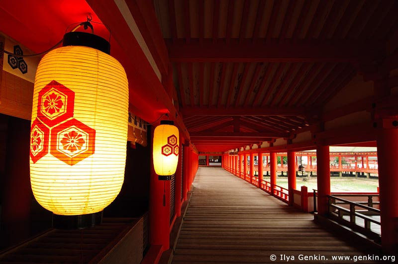 japan stock photography | A Long Corridor Stretches Through the Itsukushima Shrine, Itsukushima Shrine, Miyajima, Honshu, Japan, Image ID JPMI0036