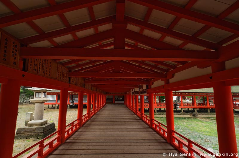 japan stock photography | A Long Corridor Stretches Through the Itsukushima Shrine, Itsukushima Shrine, Miyajima, Honshu, Japan, Image ID JPMI0037