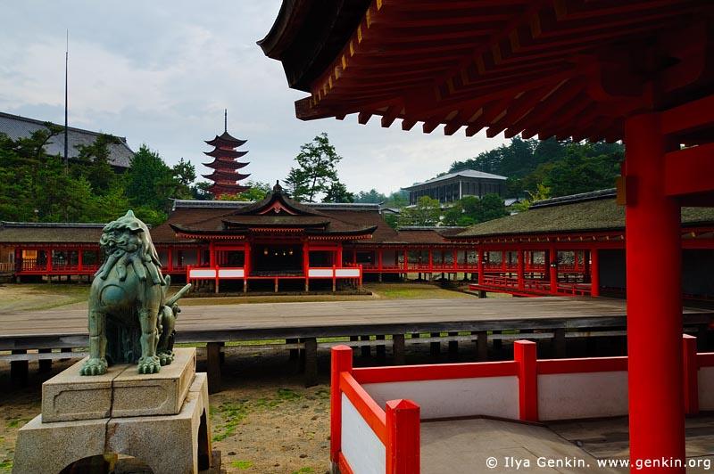 Itsukushima Shrine, Goju-no-to (Five-Storied Pagoda) and Senjokaku (One Thousand Tatami Hall), Miyajima, Honshu, Japan