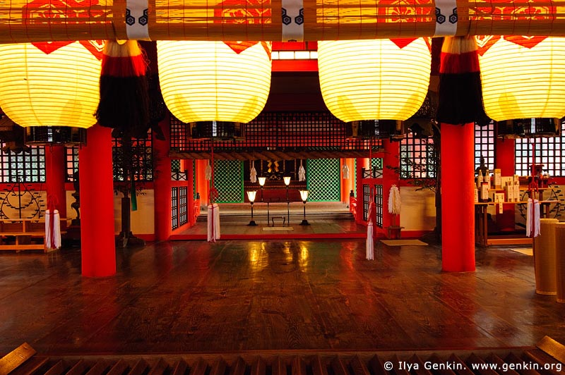 japan stock photography | Paper Lanterns Hang Over an Osaisen Bako Offering Box, Main Worship Hall, Itsukushima Shrine, Miyajima, Honshu, Japan, Image ID JPMI0047