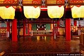 japan stock photography | Paper Lanterns Hang Over an Osaisen Bako Offering Box, Main Worship Hall, Itsukushima Shrine, Miyajima, Honshu, Japan, Image ID JPMI0047.