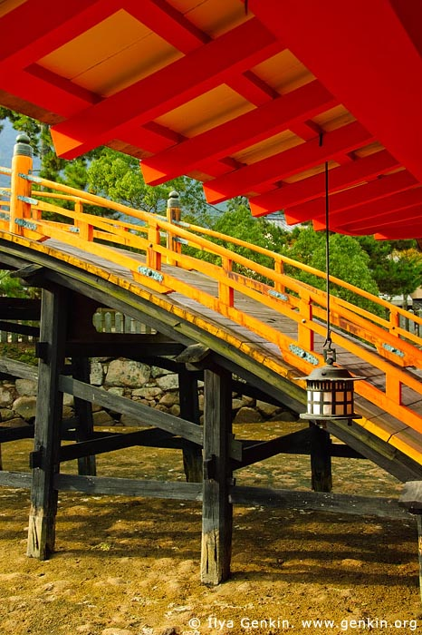 japan stock photography | Lanterns and Sori-Bashi (Arched Bridge), Itsukushima Shrine, Miyajima, Honshu, Japan, Image ID JPMI0052