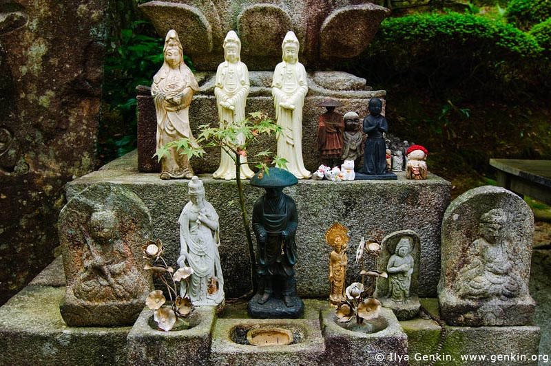 japan stock photography | God Statues in a Garden, Daisho-in Temple, Miyajima, Honshu, Japan, Image ID JPMI0069