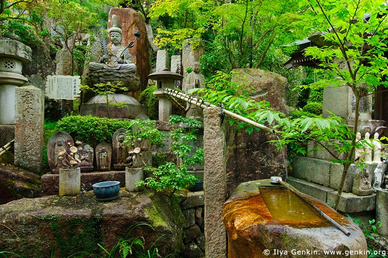 japan stock photography | God Statues in a Garden, Daisho-in Temple, Miyajima, Honshu, Japan, Image ID JPMI0070