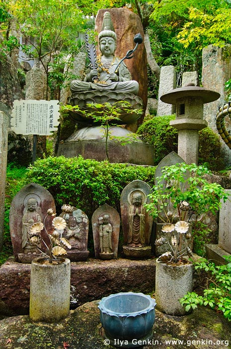 japan stock photography | God Statues in a Garden, Daisho-in Temple, Miyajima, Honshu, Japan, Image ID JPMI0071
