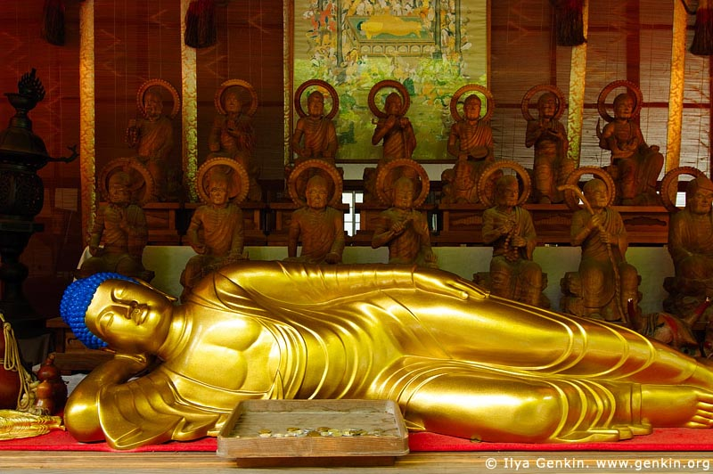 japan stock photography | Reclining Buddha, Daisho-in Temple, Miyajima, Honshu, Japan, Image ID JPMI0072