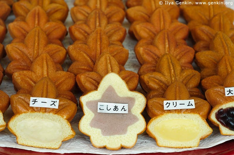 japan stock photography | Momiji Manju (traditional Miyajima cookies), Miyajima, Honshu, Japan, Image ID JPMI0100