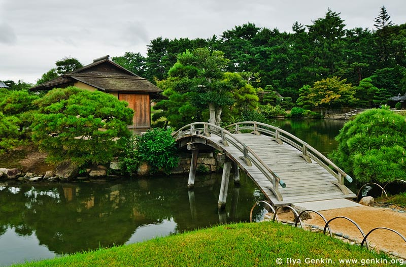 japan stock photography | Naka-no-shima Island on Sawa-no-ike Pond, Korakuen Garden, Okayama, Honshu, Japan, Image ID JPOK0003
