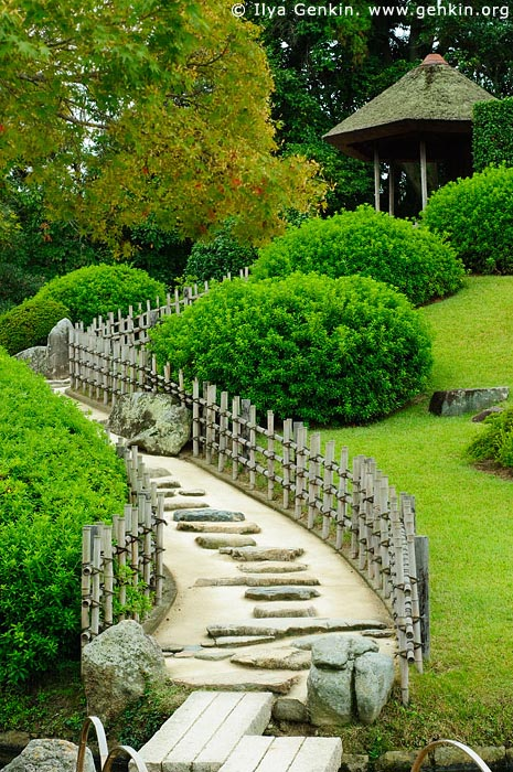 japan stock photography | Stairs to the Yuishinzan Hill, Korakuen Garden, Okayama, Honshu, Japan, Image ID JPOK0005