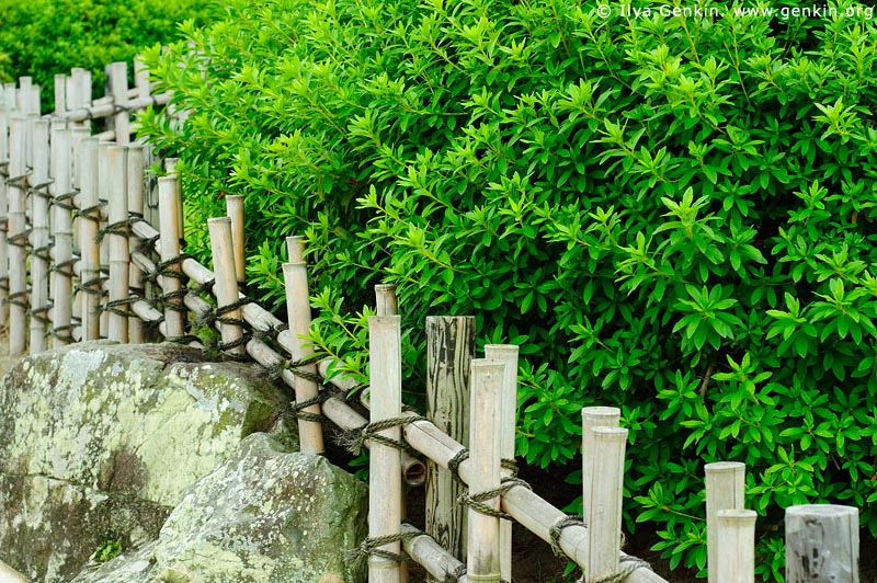 japan stock photography | Fence at the Yuishinzan Hill, Korakuen Garden, Okayama, Honshu, Japan, Image ID JPOK0006