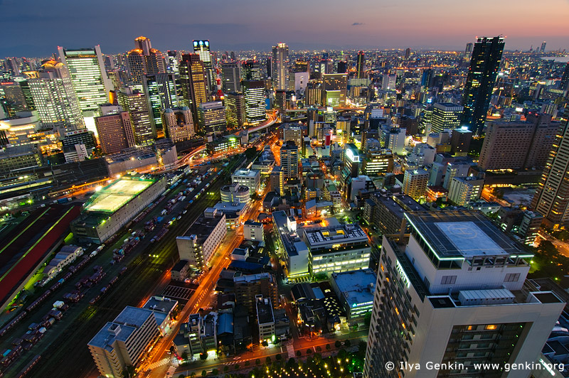 japan stock photography | Nishi-Umeda Skyscrapers after Sunset, Osaka, Kansai, Honshu, Japan