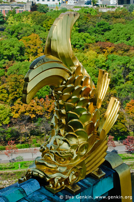 japan stock photography | Gold Figure of Shachihoko at Osaka Castle, Osaka, Kansai region, Honshu Island, Japan, Image ID JP-OSAKA-0010