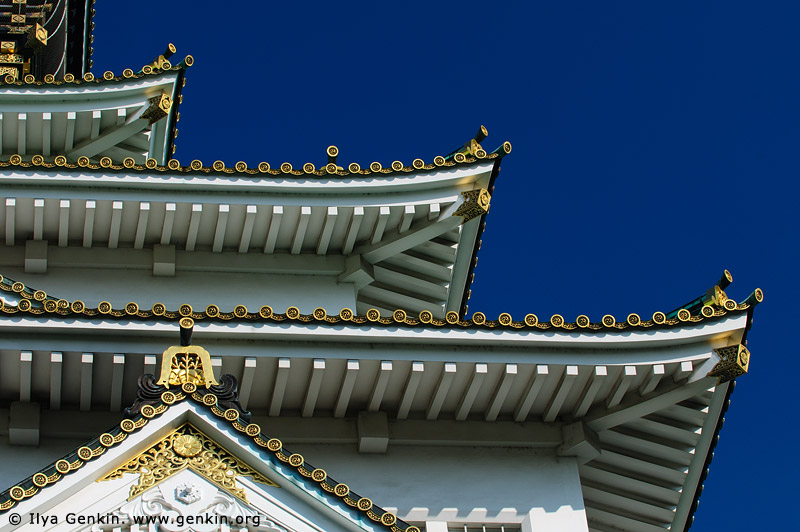 japan stock photography | Roof Details of Osaka Castle, Osaka, Kansai region, Honshu Island, Japan, Image ID JP-OSAKA-0012