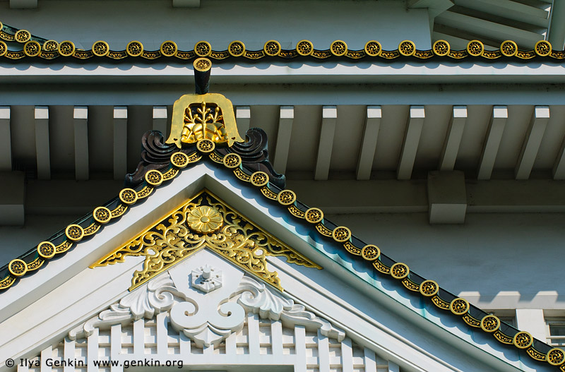 japan stock photography | Roof Details of Osaka Castle, Osaka, Kansai region, Honshu Island, Japan, Image ID JP-OSAKA-0019