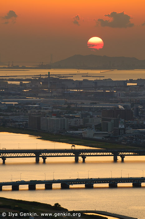 japan stock photography | Osaka at Sunset, Osaka, Kansai, Honshu, Japan, Image ID JP-OSAKA-0022