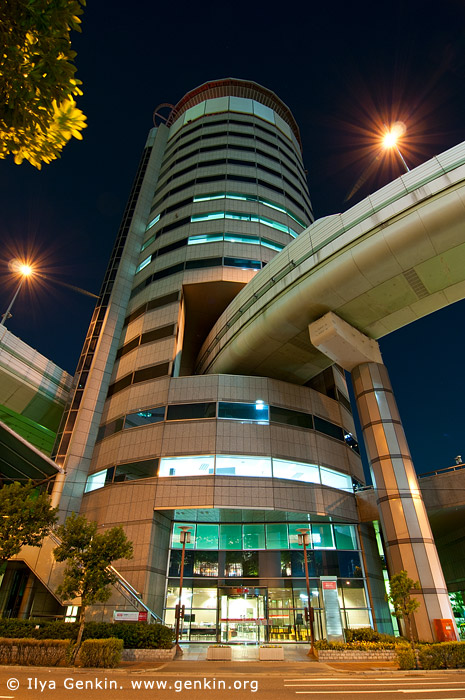 japan stock photography | Gate Tower Building and Hanshin Expressway at Night, Osaka, Kansai, Honshu, Japan, Image ID JP-OSAKA-0026