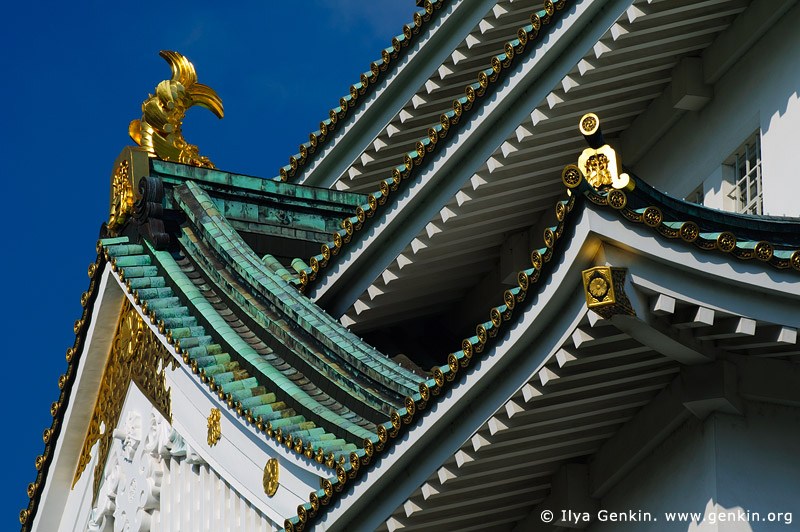 japan stock photography | Roof Details of Osaka Castle, Osaka, Kansai region, Honshu Island, Japan, Image ID JP-OSAKA-0027