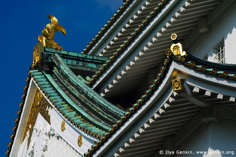 japan stock photography | Roof Details of Osaka Castle, Osaka, Kansai region, Honshu Island, Japan, Image ID JP-OSAKA-0027