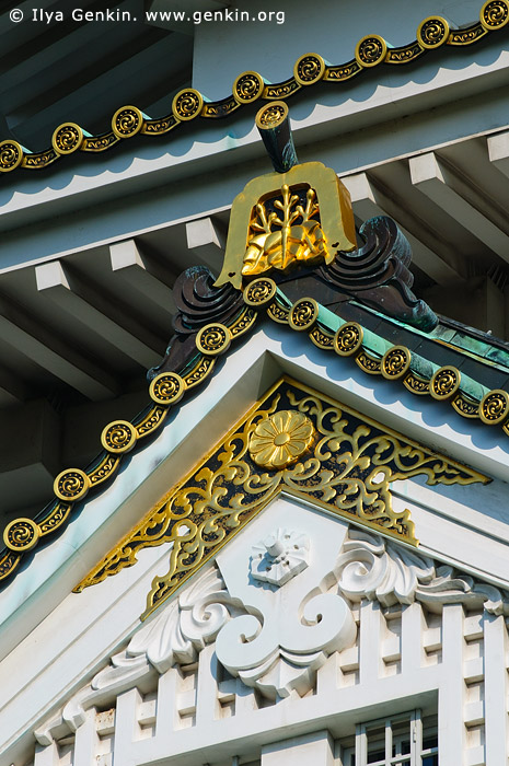 japan stock photography | Roof Details of Osaka Castle, Osaka, Kansai region, Honshu Island, Japan, Image ID JP-OSAKA-0029