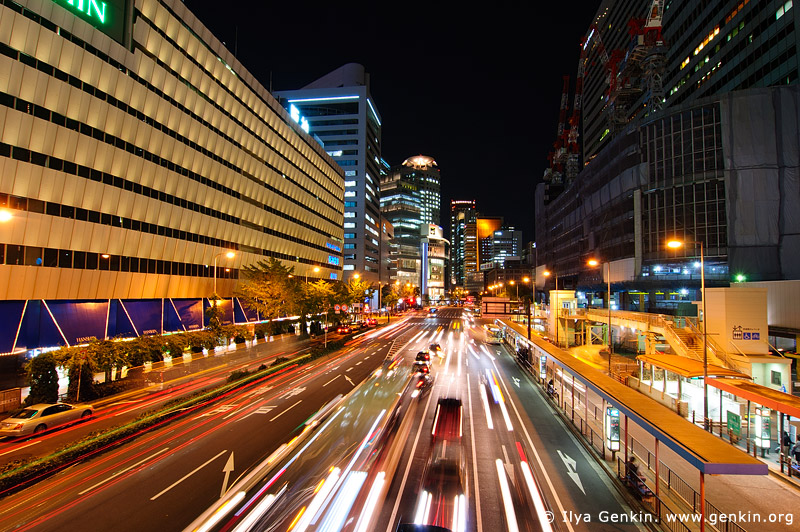 japan stock photography | Yotsubashi Street Night Traffic, Osaka, Kansai, Honshu, Japan, Image ID JP-OSAKA-0032