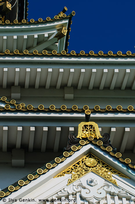 japan stock photography | Roof Details of Osaka Castle, Osaka, Kansai region, Honshu Island, Japan, Image ID JP-OSAKA-0033