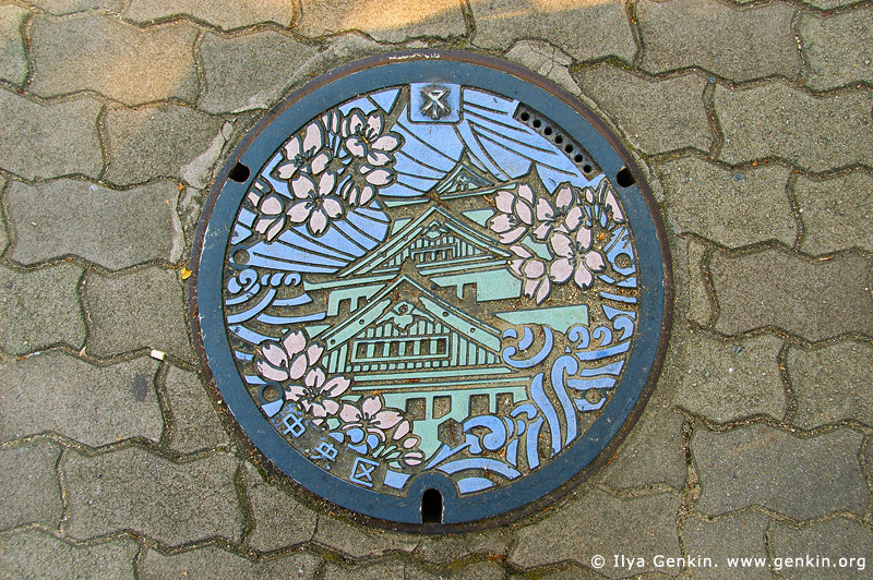 japan stock photography | Painted Manhole Cover in Osaka, Osaka, Kansai region, Honshu Island, Japan, Image ID JP-OSAKA-0037