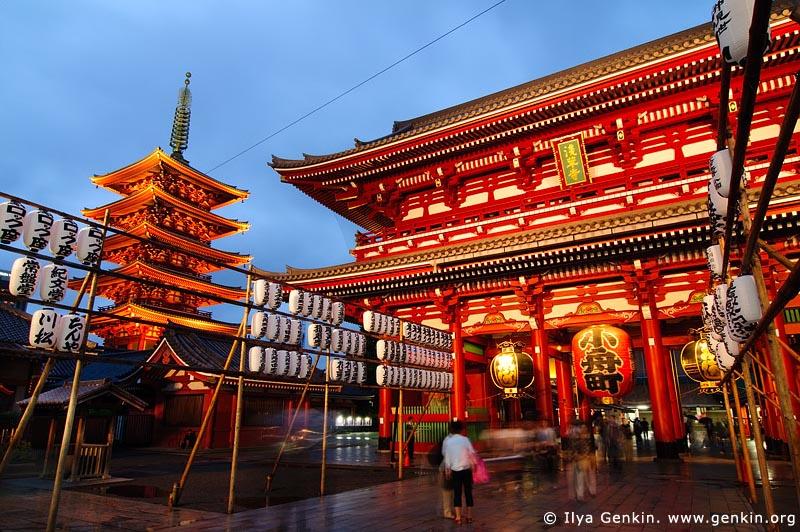 japan stock photography | Five-Story Pagoda and Hozo-mon Gate at Dusk, Senso-ji Temple, Asakusa, Tokyo, Kanto Region, Honshu Island, Japan, Image ID JP-TOKYO-0001