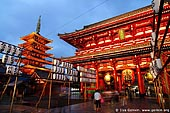 japan stock photography | Five-Story Pagoda and Hozo-mon Gate at Dusk, Senso-ji Temple, Asakusa, Tokyo, Kanto Region, Honshu Island, Japan, Image ID JP-TOKYO-0001.