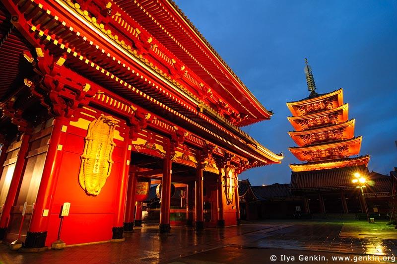 japan stock photography | Five-Story Pagoda and Hozo-mon Gate at Dusk, Senso-ji Temple, Asakusa, Tokyo, Kanto Region, Honshu Island, Japan, Image ID JP-TOKYO-0002