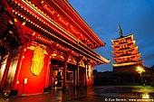 japan stock photography | Five-Story Pagoda and Hozo-mon Gate at Dusk, Senso-ji Temple, Asakusa, Tokyo, Kanto Region, Honshu Island, Japan, Image ID JP-TOKYO-0002.