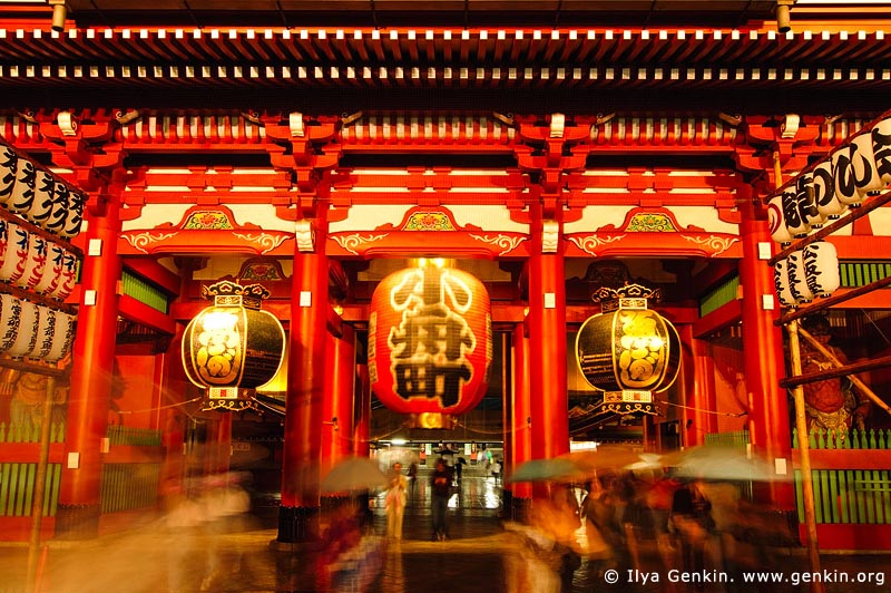 japan stock photography | Hozo-mon Gate at Dusk, Senso-ji Temple, Asakusa, Tokyo, Kanto Region, Honshu Island, Japan, Image ID JP-TOKYO-0004