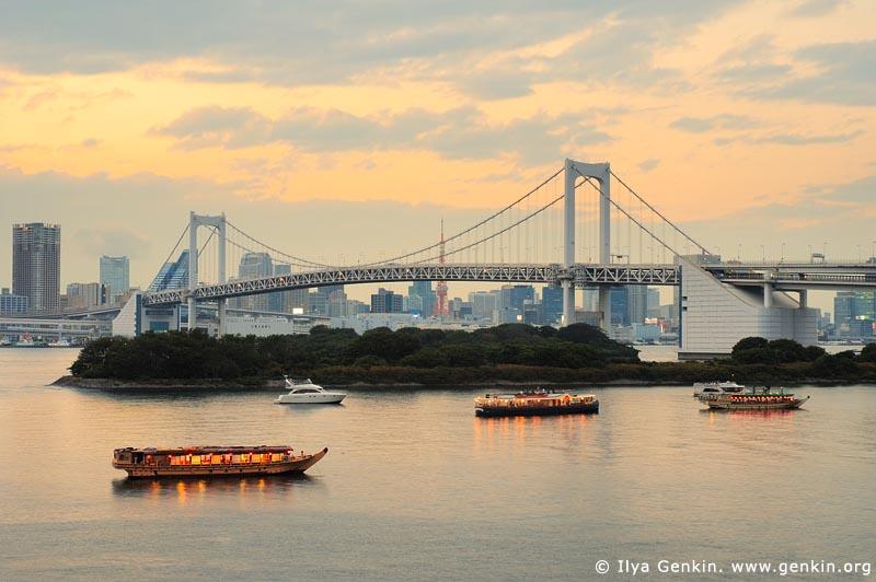 japan stock photography | Rainbow Bridge at Sunset, Odaiba, Tokyo, Kanto Region, Honshu Island, Japan, Image ID JP-TOKYO-0025