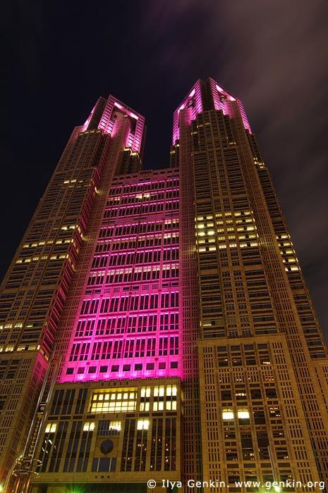 japan stock photography | Tokyo Metropolitan Government Building at Night, Shinjuku, Tokyo, Kanto Region, Honshu Island, Japan, Image ID JP-TOKYO-0041