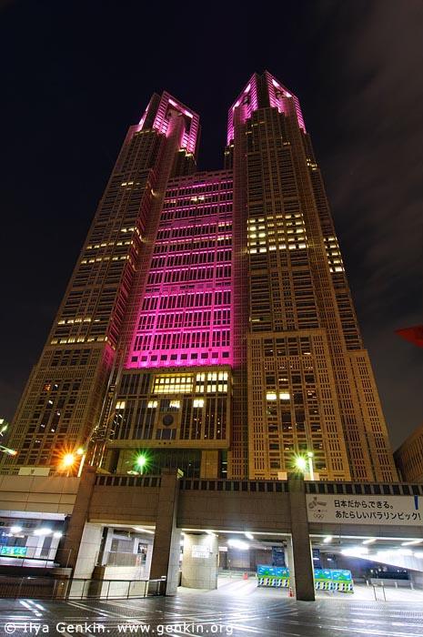 japan stock photography | Tokyo Metropolitan Government Building at Night, Shinjuku, Tokyo, Kanto Region, Honshu Island, Japan, Image ID JP-TOKYO-0042