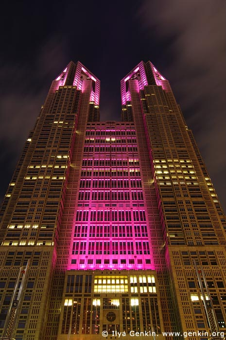 japan stock photography | Tokyo Metropolitan Government Building at Night, Shinjuku, Tokyo, Kanto Region, Honshu Island, Japan, Image ID JP-TOKYO-0044